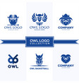 owl logo collection vector image vector image