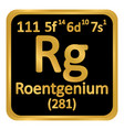 periodic table element roentgenium icon vector image vector image