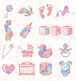 Quilt Pattern Baby Icons vector image vector image