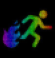 rainbow pixel fired running man icon vector image vector image