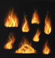 realistic flame fireball warm fire effect vector image