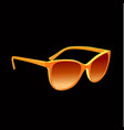 realistic orange sunglasses on black background vector image vector image