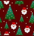 Santa claus and christmas tree on red background