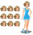 set girl variety of emotions vector image