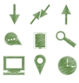Set Icons symbols arrows tablet magnifier vector image