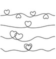 set seamless continuous line heart border vector image