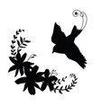 silhouette flying bird and flower composition vector image vector image