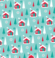 snowy winter house pattern vector image