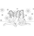 three beautiful girls vector image