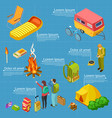 tourism camping isometric info banner vector image vector image