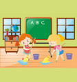 two girls cleaning classroom together vector image vector image