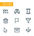 user icons line style set with base strainer vector image
