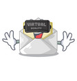 virtual reality open envelope on cartoon shape vector image