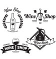 wine shop vintage emblems labels badges and logos vector image vector image