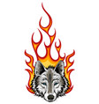 wolf flaming fire logo mascot design vector image vector image