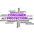word cloud consumer protection vector image vector image