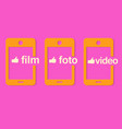 yellow phone on a pink background vector image vector image