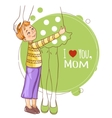 Little boy embraces his mother vector image