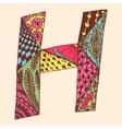 Vintage monogram H Doodle colorful alphabet vector image