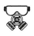 color crayon stripe cartoon gas mask protection vector image