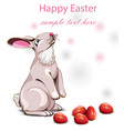 happy easter card with cute rabbit vector image