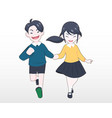 a boy in blue sweater hand holding a girl vector image vector image