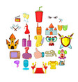 acting skill icons set cartoon style vector image vector image