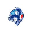 American Bald Eagle Beer Keg Flag Circle Retro vector image