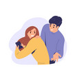 angry jealous woman spying with her husband s vector image vector image