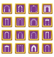arch set icons set purple vector image vector image
