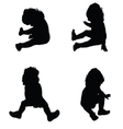 baby in a sitting position silhouette vector image