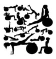 beautiful woman doing fitness silhouettes vector image vector image
