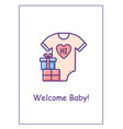 birth announcement greeting card with color icon vector image