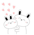 bunny couple baby rabbit hare hugging family vector image