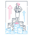 businesswoman standing on coins - line design vector image
