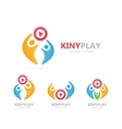 button play and people logo combination vector image vector image