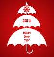 Christmas Card with Umbrellas vector image vector image