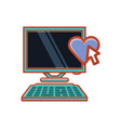 computer desktop with heart and cursor vector image vector image