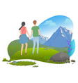 couple holding hands walking in mountains vector image vector image