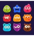 Cute jelly characters with different emotions vector image