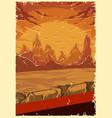 desert landscape colorful poster vector image