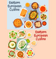 eastern european cuisine icon set for food design vector image