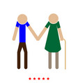 elder people stick icon flat style vector image vector image