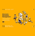 electronic document management banner vector image vector image