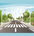 empty road with crosswalk road markings sidewalk vector image