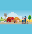 farmer and farm with animals landscape background vector image
