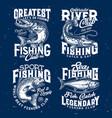 fishing sport t-shirt prints salmon pike tuna vector image vector image