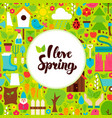 flat i love spring greeting vector image vector image