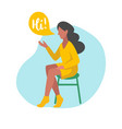 flat of sitting girl with vector image vector image
