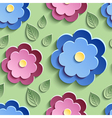 Floral seamless pattern with decorative 3d flowers vector image vector image